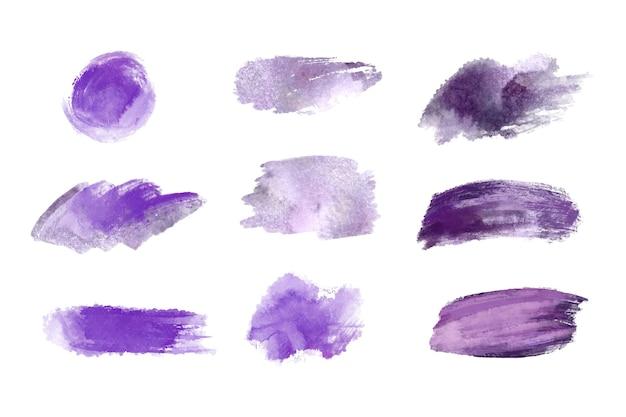 Collezione di tratti di pennello acquerelli dipinti a mano