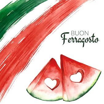 Ручная роспись акварелью buon ferragosto иллюстрация