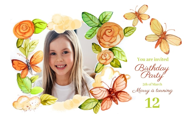 Hand painted watercolor butterfly birthday invitation template with photo