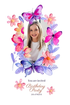 Hand painted watercolor butterfly birthday invitation template with photo Free Vector