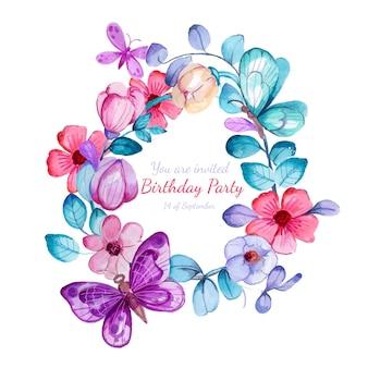 手描きの水彩蝶の誕生日の招待状のテンプレート