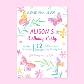 Hand painted watercolor butterfly birthday invitation template