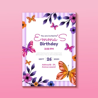 Hand painted watercolor butterfly birthday invitation