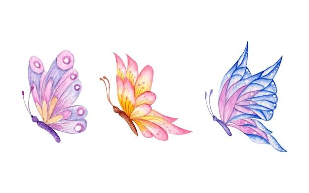 손으로 그린 수채화 나비 세트