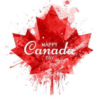 Hand painted watercolor canada day illustration