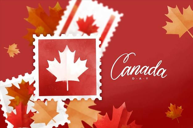手描きの水彩画カナダの日のイラスト