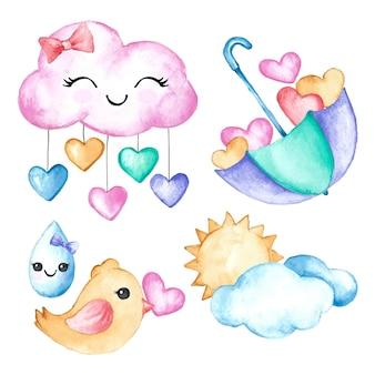 손으로 그린 수채화 chuva de amor 장식 요소 컬렉션