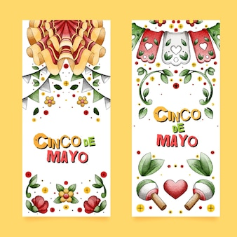 Hand painted watercolor cinco de mayo banners set