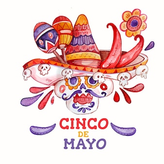 Hand painted watercolor cinco de mayo illustration