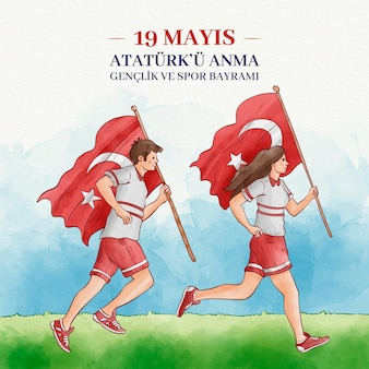 Hand painted watercolor commemoration of ataturk, youth and sports day
