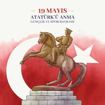 Hand-painted watercolor commemoration of ataturk, youth and sports day