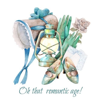 Hand painted watercolor composition of  vintage romantic things