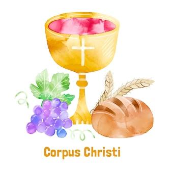Illustrazione dell'acquerello del corpus christi dipinto a mano
