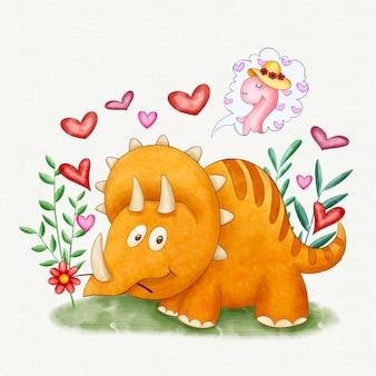 Hand painted watercolor cute baby dinosaur
