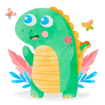손으로 그린 수채화 귀여운 아기 공룡