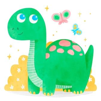 手描きの水彩画のかわいい赤ちゃん恐竜