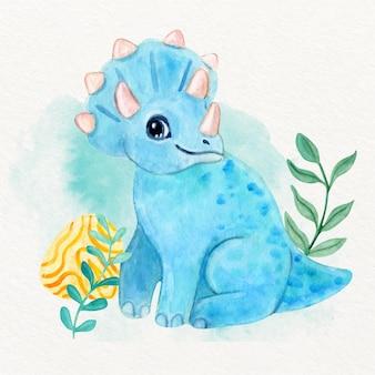Dinosauro sveglio del bambino dell'acquerello dipinto a mano