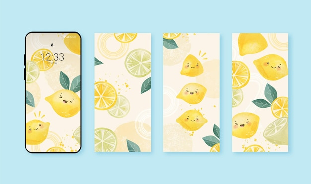 Hand painted watercolor cute phone background