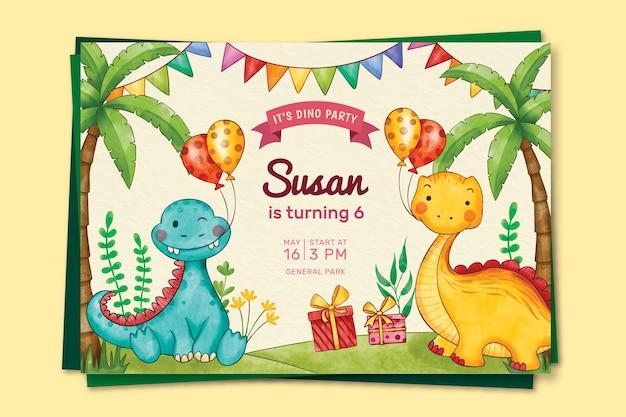 손으로 그린 수채화 공룡 생일 초대장