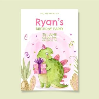 Invito di compleanno di dinosauro dell'acquerello dipinto a mano