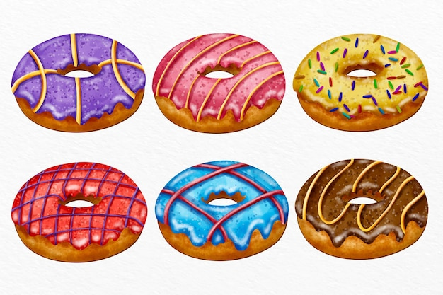 손으로 그린 수채화 도넛 세트