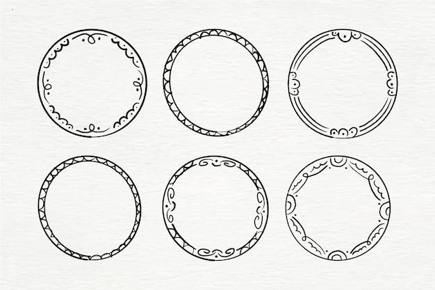 손으로 그린 수채화 낙서 프레임 컬렉션