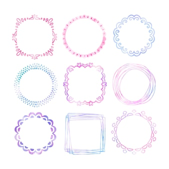 Hand painted watercolor doodle frame collection