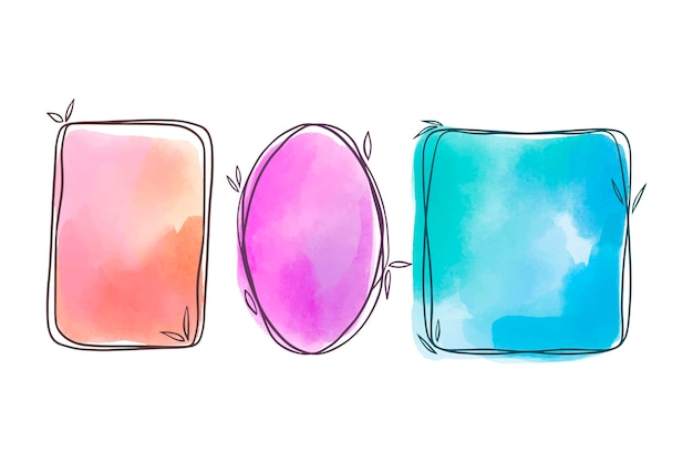 Hand painted watercolor doodle frames collection
