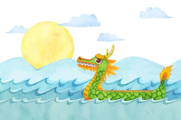 Fondo della barca del drago dell'acquerello dipinto a mano