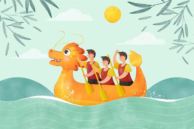 手描きの水彩ドラゴンボートの背景