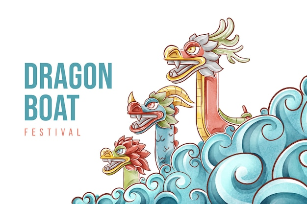 Hand painted watercolor dragon boat background