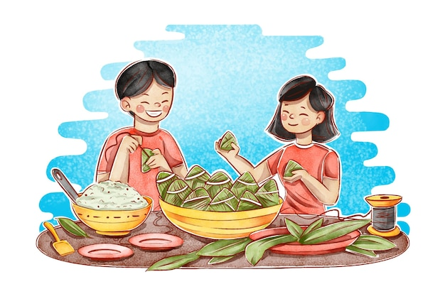 Hand painted watercolor dragon boat family preparing and eating zongzi illustration