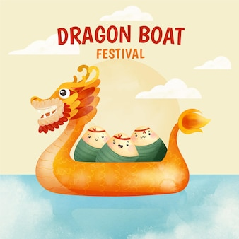 Hand painted watercolor dragon boat illustration