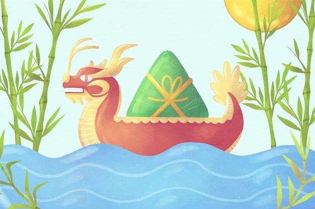 Ручная роспись акварельной лодкой-драконом цзунцзы фон