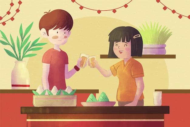 손으로 그린 수채화 용 보트의 zongzi 배경