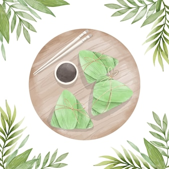 Hand painted watercolor dragon boat's zongzi background
