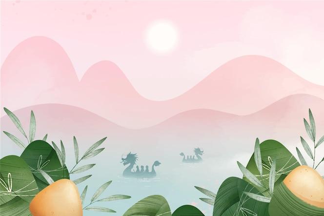 手绘水彩龙舟的zongzi背景