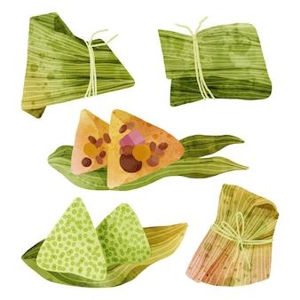 손으로 그린 수채화 용 보트의 종자 컬렉션