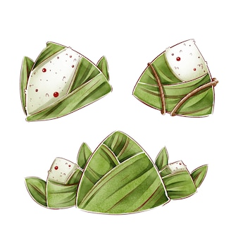 Hand painted watercolor dragon boat's zongzi collection