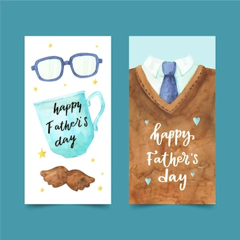 Hand painted watercolor father's day banners set