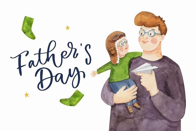 Hand painted watercolor father's day illustration
