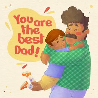 손으로 그린 수채화 아버지의 날 그림