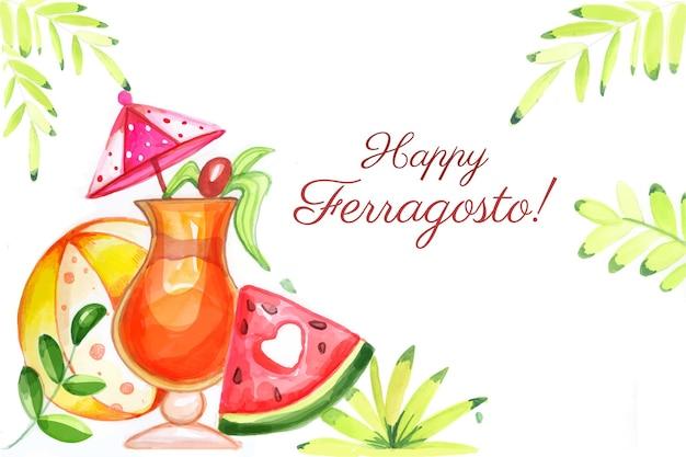 Ручная роспись акварельной иллюстрацией празднования феррагосто