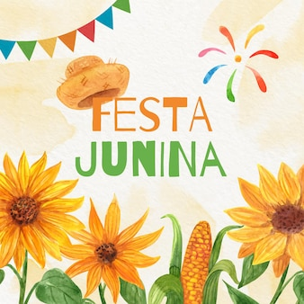 Hand painted watercolor festa junina illustration