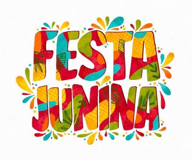 Ручная роспись акварелью festa junina иллюстрация