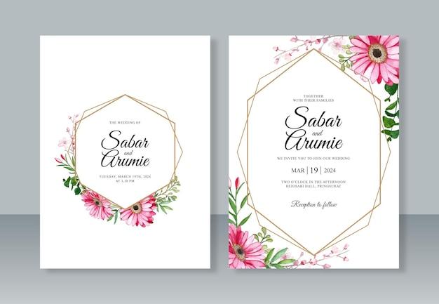 結婚式の招待カード セット テンプレートの手描きの水彩画の花と幾何学的な境界線