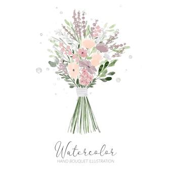 結婚式のイラストの手描き水彩フラワーアレンジメント