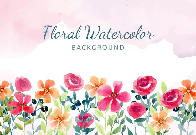 赤とオレンジの花と手描きの水彩花の背景