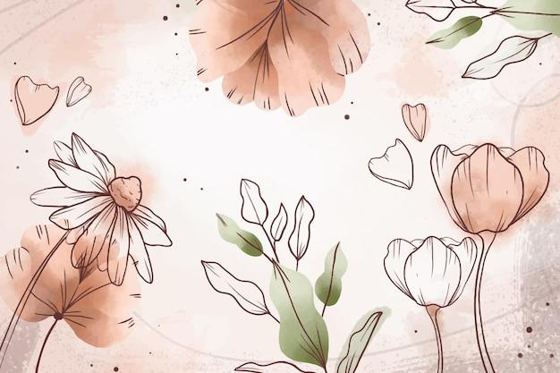 手描きの水彩花の背景