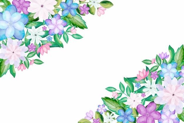 손으로 그린 수채화 꽃 배경 무료 벡터